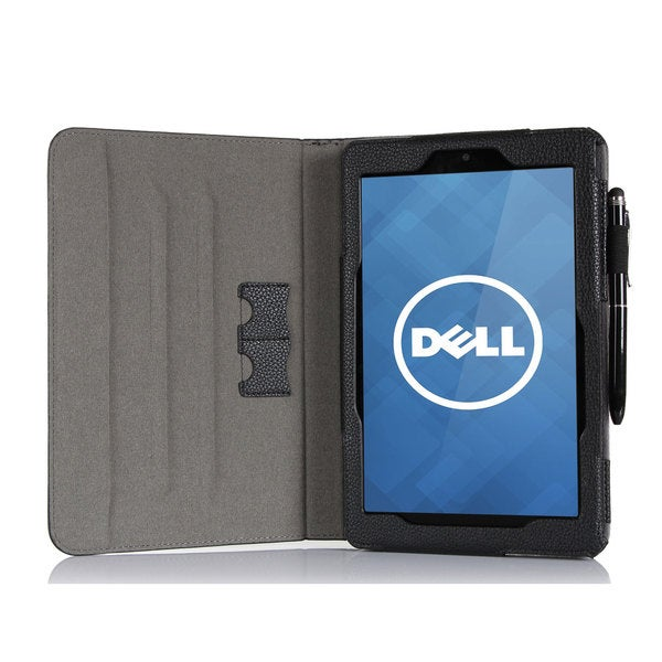 roocase Black Dual View Folio Case Cover and Stylus for Dell Venue 8 Android Tablet