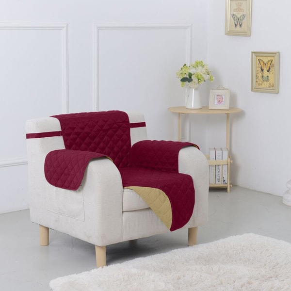 Reversible Quilted Suede Microfiber Chair Furniture Protector 16459135