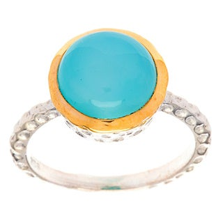Hammered Sterling Silver Cabochon Chalcedony Ring (India)