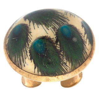 ZAL-12FWFR62113A Arleti Golden Peacock Dome Cocktail Ring (India)