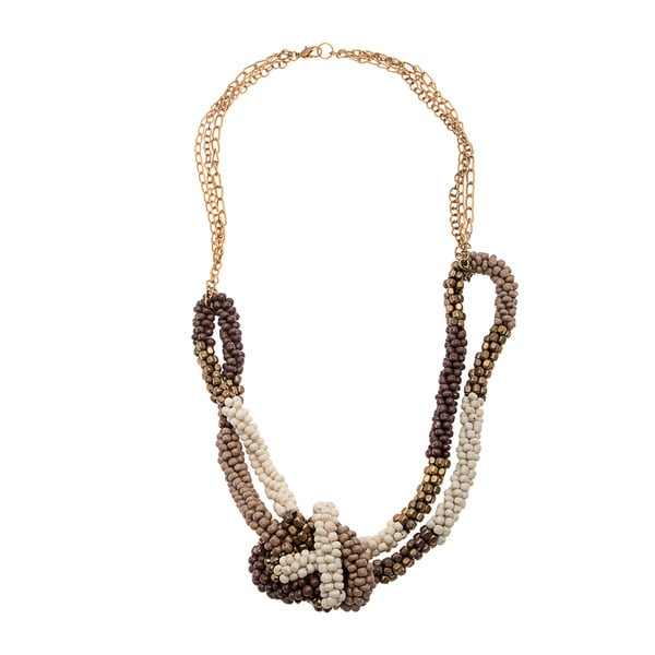 Jana Brown/ Cream Beaded Knot Necklace (India)