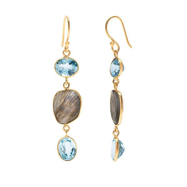 Blue Topaz Chic Dangle Earrings (India)