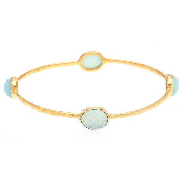 Ronda Goldplated Sterling SIlver Aqua Gemstone Bracelet
