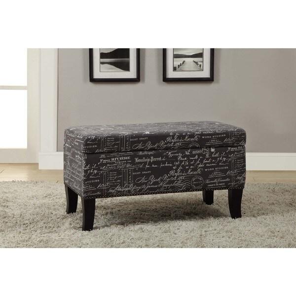 Linon Stephanie Script Linen Grey Upholstered Ottoman