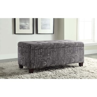 Copper Grove Rezina Flip-top Tufted Dark Grey Shoe Storage Ottoman with Cream Cursive Script Accents