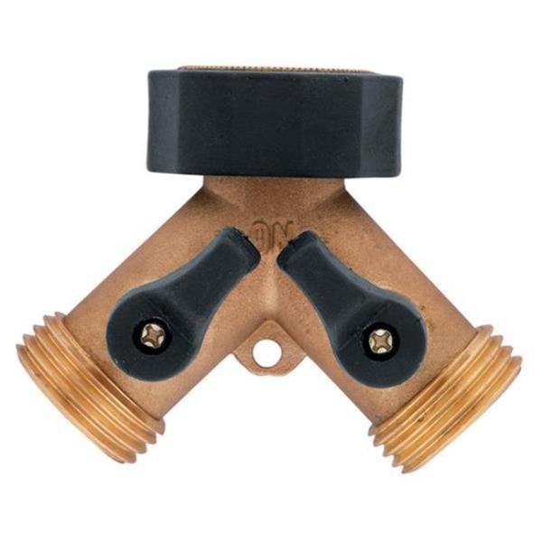 Orbit 58248N Brass Hose Wye with Shut-Offs