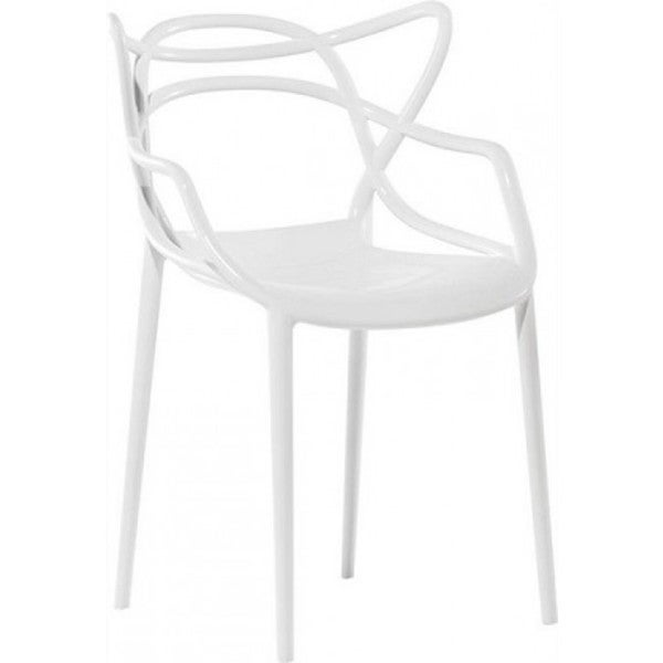 Contemporary Masters White Plastic Dining Designer Chair