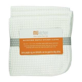 MUkitchen White Microfiber Waffle Dishcloths (Set of 3)