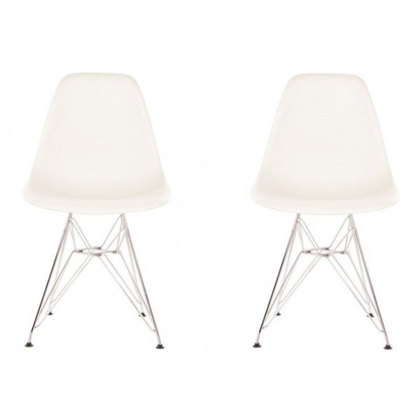 Contemporary Retro Molded White Accent Plastic Dining Shell Chairs with Steel Eiffel Legs (Set of 2)