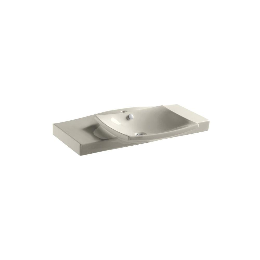 Kohler Escale 39 inch Vanity Top Bathroom Sink with Single Faucet Hole in Biscuit