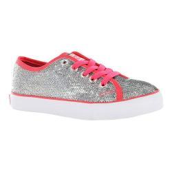 Girls' Gotta Flurt Pizzazz G Sneaker Silver Sequin/Hot Pink Pu