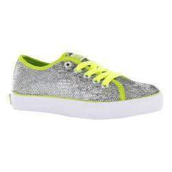 Girls' Gotta Flurt Pizzazz G Sneaker Silver Sequin/Lime Pu