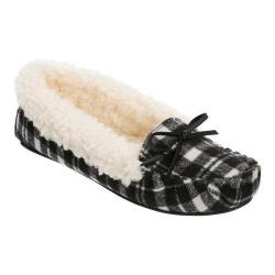 Women's Dearfoams Mixed Material Moccasin Slipper Black Plaid