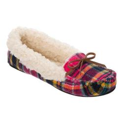 Women's Dearfoams Mixed Material Moccasin Slipper Pink Plaid