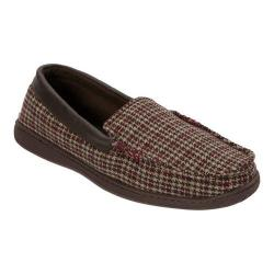 Men's Dearfoams Mixed Material Moccasin with Meva Insole Brown Multi