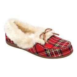Women's Vionic with Orthaheel Technology Cozy Juniper Moccasin Red Plaid