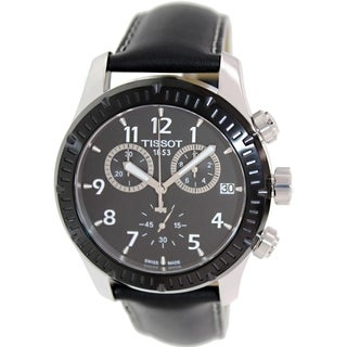 Tissot Men's V8 T039.417.26.057.00 Black Leather Swiss Quartz Watch with Black Dial