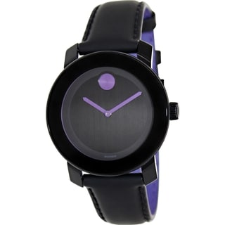 Movado Women's Bold 3600165 Black Leather Swiss Quartz Watch