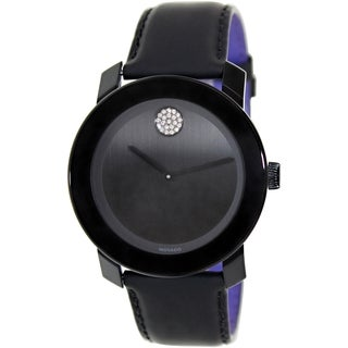 Movado Women's Bold 3600044 Black Leather Swiss Quartz Watch with Black Dial
