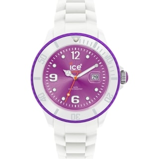Ice-Watch Unisex Ice-White SI.WV.B.S.11 White Silicone Purple Dial Watch