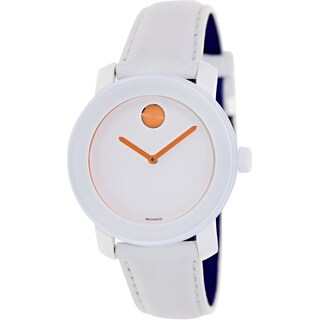 Movado Women's Bold 3600153 White Leather Swiss Quartz Watch