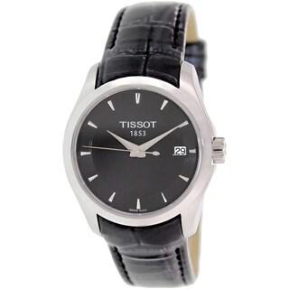Tissot Women's Courtier T035.210.16.051.00 Black Leather Swiss Quartz Watch