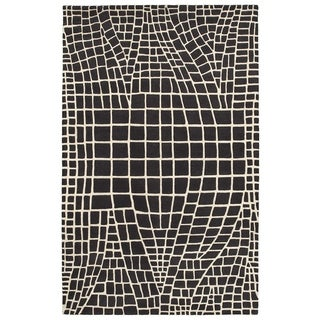 LNR Home Jaali Charcoal Geometric Area Rug (7'9 x 9'9)