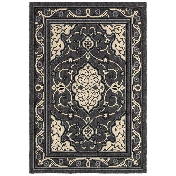 LNR Home Lanai Anthracite/ Cream Floral Area Rug (7'9 x 9'9)