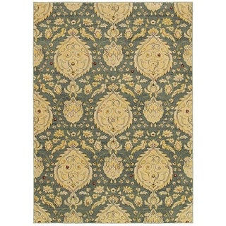 LNR Home Antigua Blue Floral Area Rug (9'2 x 12'6)