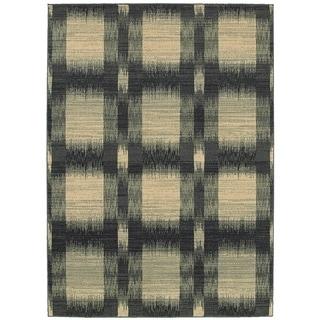 LNR Home Antigua Blue Checkered Area Rug (9'2 x 12'6)