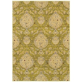 LNR Home Antigua Green Floral Area Rug (9'2 x 12'6)