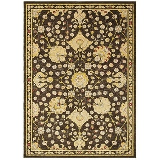 LNR Home Antigua Brown/ Green Floral Area Rug (9'2 x 12'6)