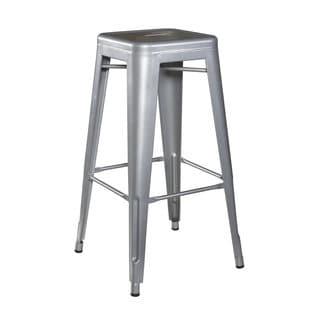 Linon Silver Square Metal Bar Stools (Set of 2)
