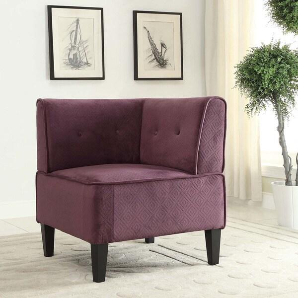 Linon Purple Fabric Corner Chair