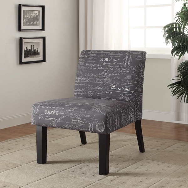 Linon Script Black and White Fabric Chair