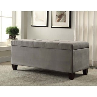 Oh! Home Yolanda Gray Tufted Flip-Top Ottoman with Shoe Storage