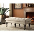 Oh! Home 50-inch Francesca Cream Linen Tufted Bench with Espresso Legs