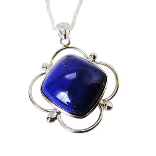 Sterling Silver AAA Lapis Bezel Pendant Necklace
