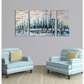 Hand-painted 'Heaven on earth' 3-piece Gallery-wrapped Canvas Art Set