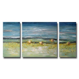 Hand-painted 'White Sand Shore' 3-piece Gallery-wrapped Canvas Art Set