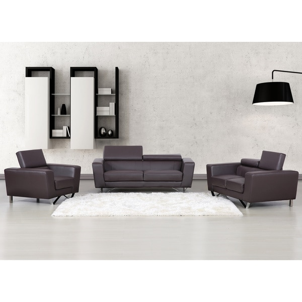Edam Chocolate Contemporary Bonded Leather 3-piece Funiture Set