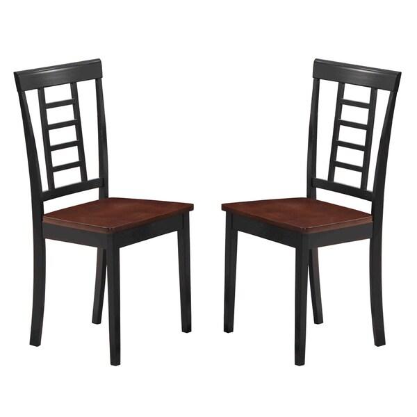 Black Walnut Ladder Back Dining Chairs Set Of 2