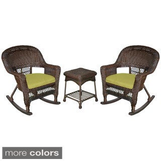 3-piece Espresso Rocker Wicker Chair Set with Cushions