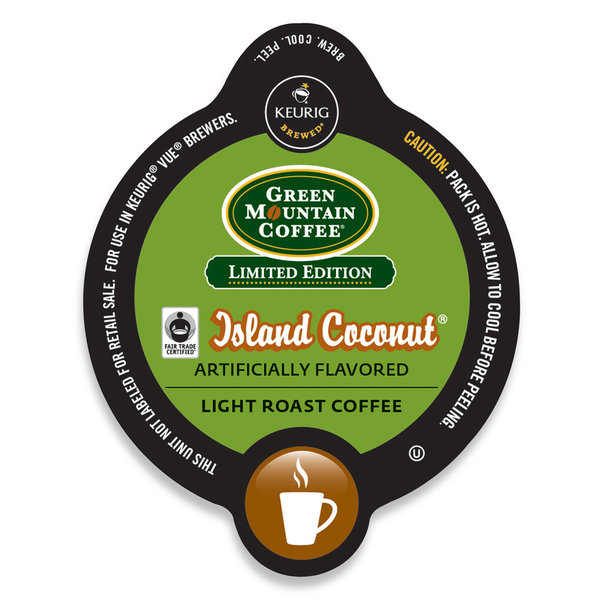 Green Mountain Coffee Island Coconut, Vue Cup Portion Pack for Keurig Vue Brewing Systems