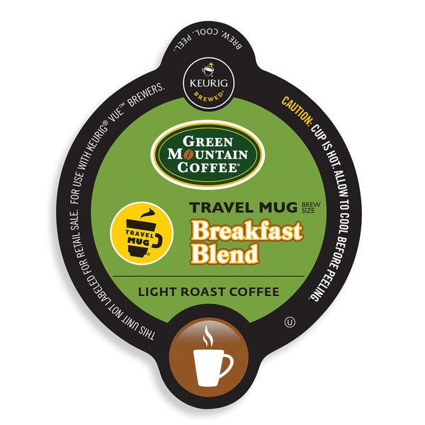 Green Mountain Coffee Breakfast Blend Coffee Travel Mug, Vue Cup Portion Pack for Keurig Vue Brewing Systems