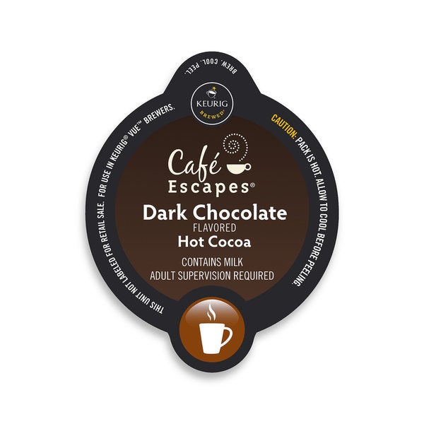Cafe Escapes Dark Chocolate Hot Cocoa, Vue Cup Portion Pack for Keurig Vue Brewing Systems