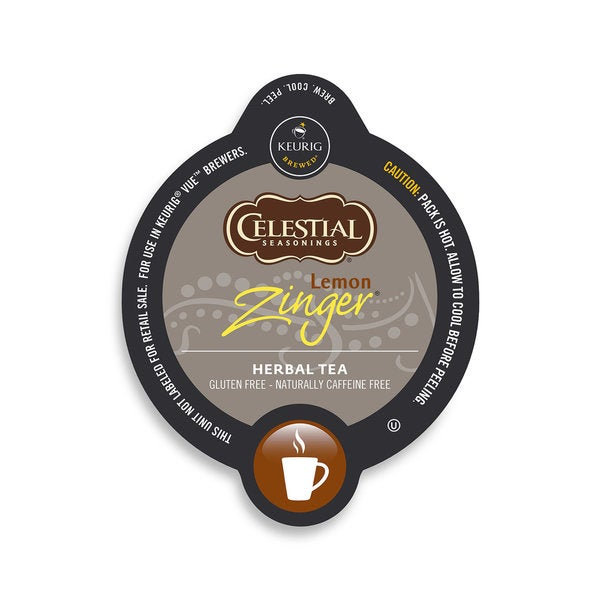 Celestial Seasonings Lemon Zinger, Vue Cup Portion Pack for Keurig Vue Brewing Systems