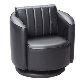 Gift Mark Home Black Upholstered Swivel Chair