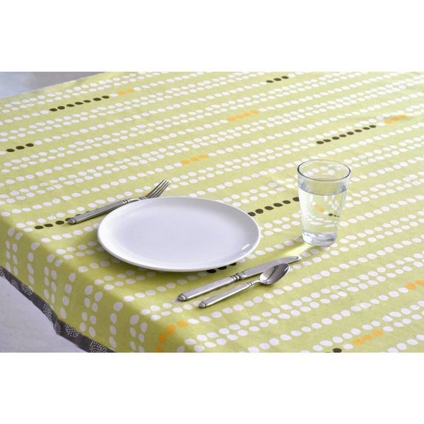 Organic Cotton Green Dots Square Tablecloth