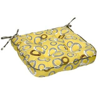 Yellow Novelty Print Organic Cotton Seat Cushion (Set of 2)